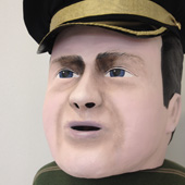 David cameron paper mache heathrow mask head