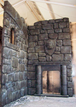 castle scenery prop decoration fireplace mediaeval theme gargoyle