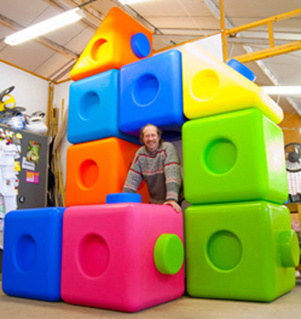 Giant coloured play cube blocks kids Jim Speelmans