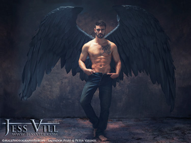 man fallen angel large black wings
