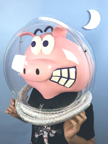 moonpig prop costume pig mask makers space helmet