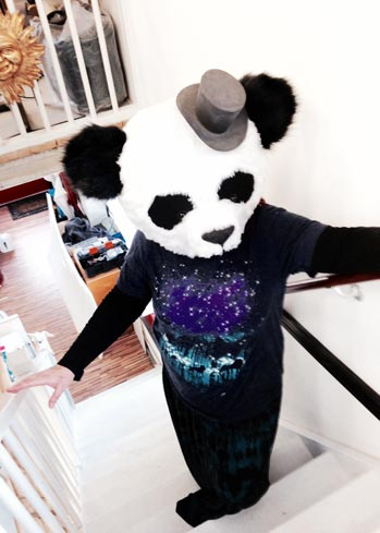 panda bear head fur mask made by Tentacle Studio