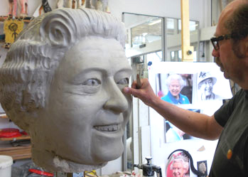 big paper mache head portrait elizabeth uk queen