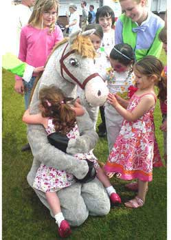 childrens fur horse mask jockey costume Goodwood
