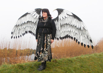 large white eagle wings costume