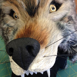 fake faux fur gray grey wolf head mask