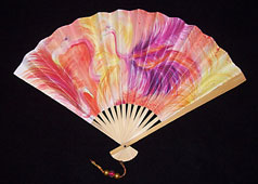 flamingo design paper decorative fan