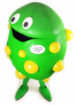 green ball bacteria mascot costume