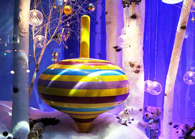 harrods christmas shop window prop maker giant top toys