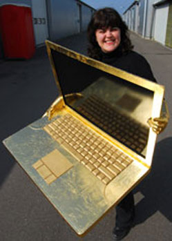 gold laptop prop costume for Trainline TV advert Tentacle Studio