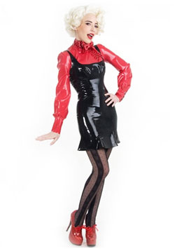 rubber dress custom made red black