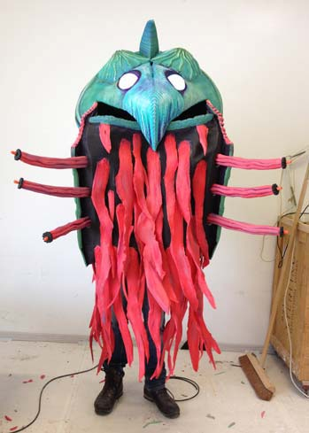 sea monster creature costume handmade squid shell