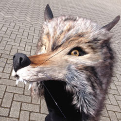 realistic wolf head masquerade mask adult handmade