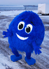 blue  fur ball mascot costume Archie the reading bug.