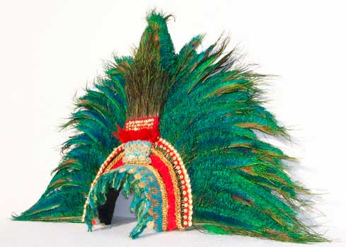 Montezuma Inca Aztec gold headdress feathers peacock Mexican penacho
